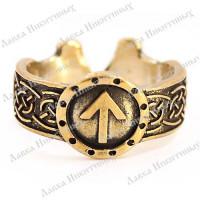 Кольцо с рунами и молотами Тора